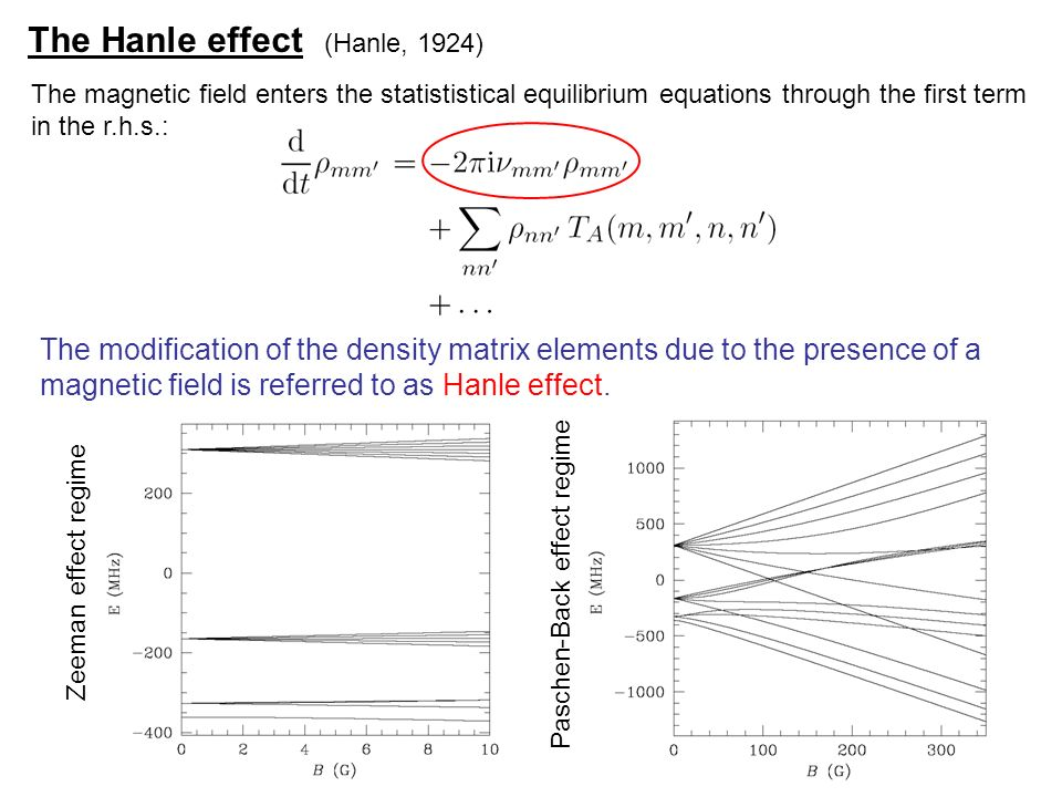 The Hanle effect (Hanle, 1924) The magnetic field enters the statististical equilibrium equations through the first term in the r.h.s.: