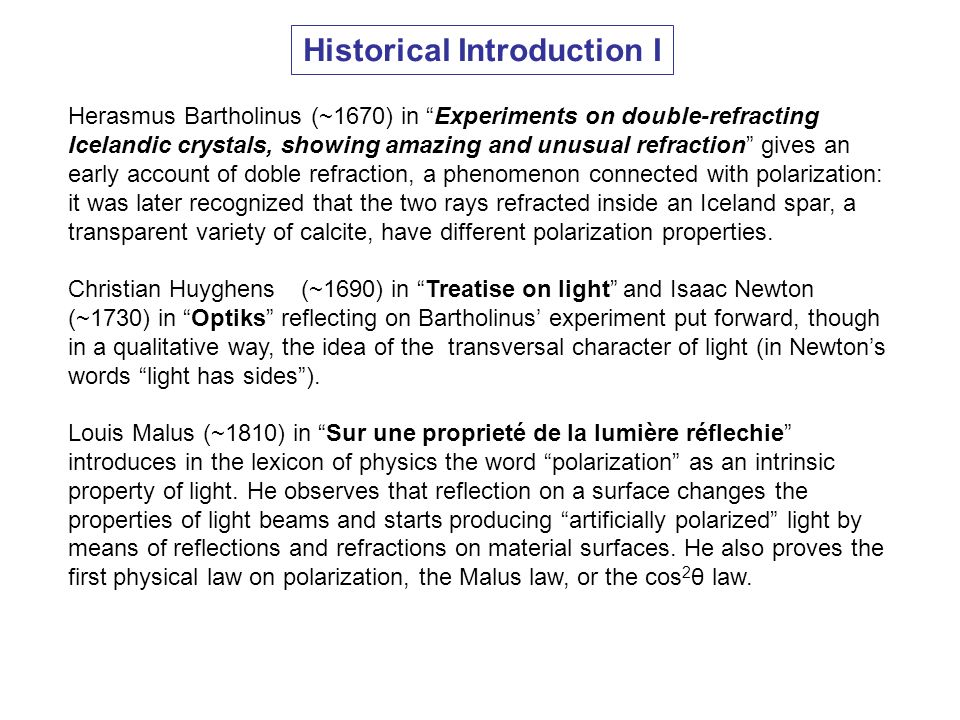 Historical Introduction I