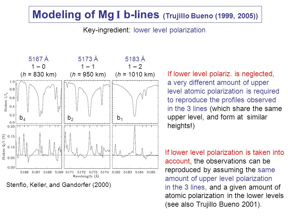Modeling of Mg I b-lines (Trujillo Bueno (1999, 2005))