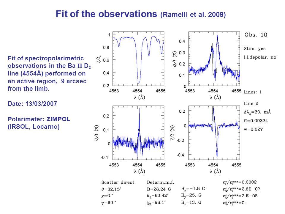 Fit of the observations (Ramelli et al. 2009)