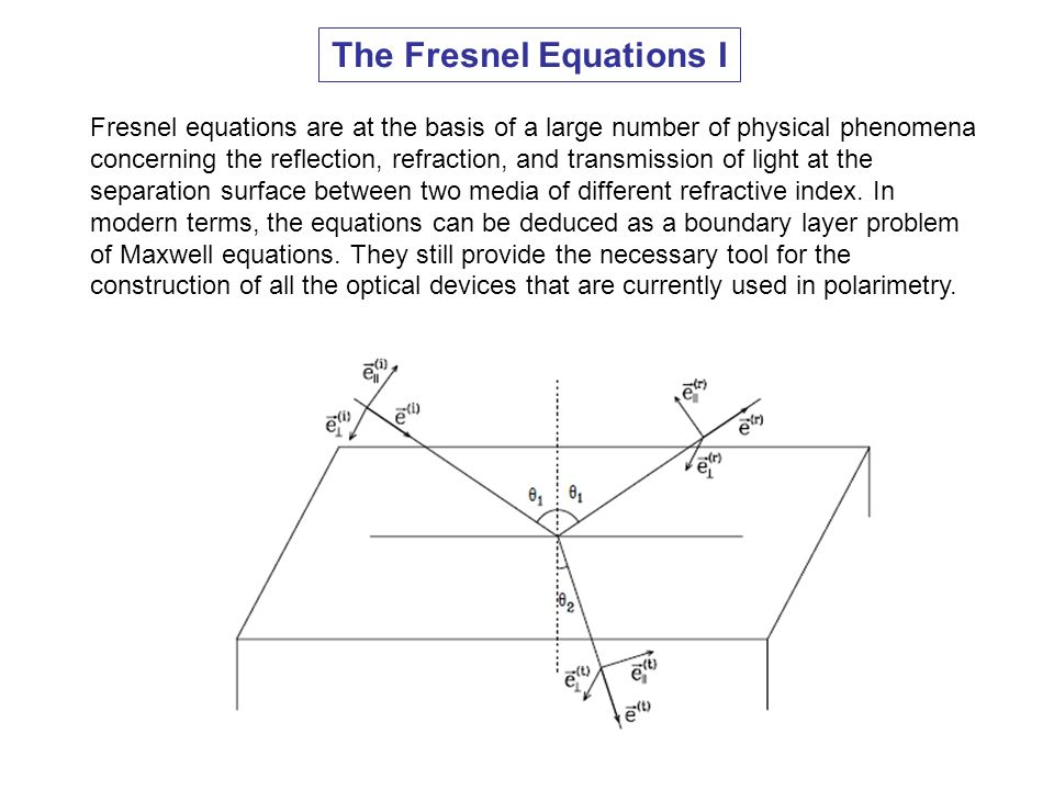 The Fresnel Equations I