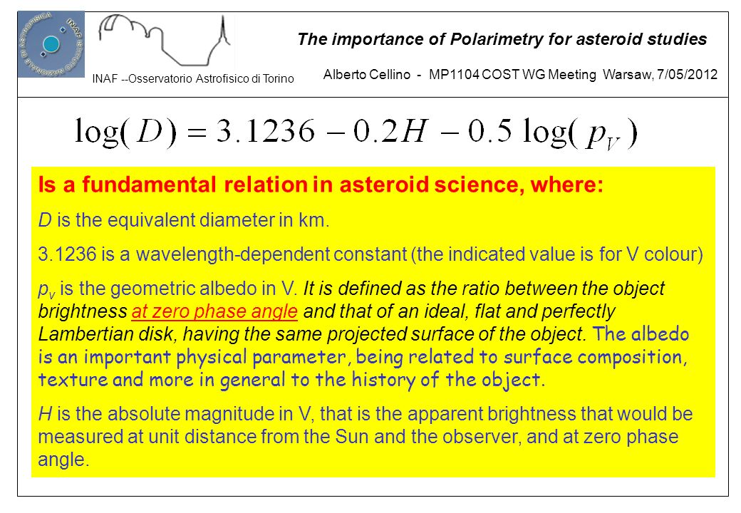 Is a fundamental relation in asteroid science, where: