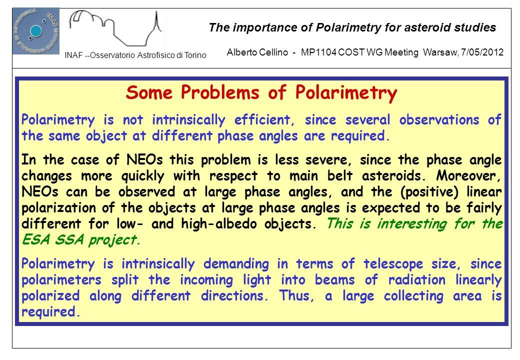 Some Problems of Polarimetry