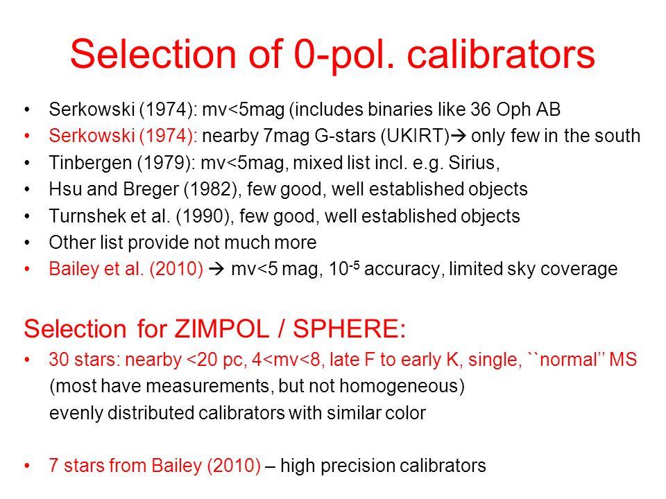 Selection of 0-pol. calibrators