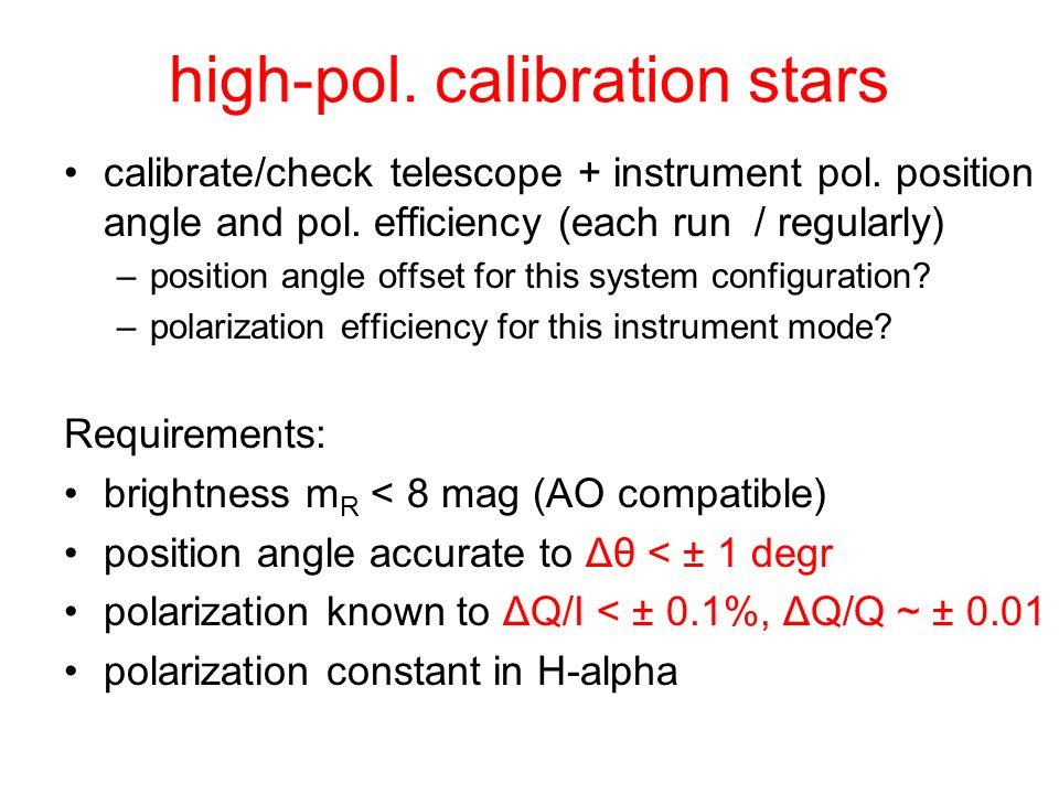 high-pol. calibration stars