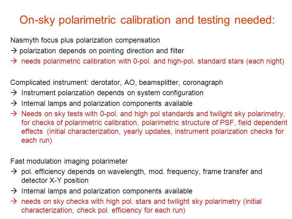On-sky polarimetric calibration and testing needed: