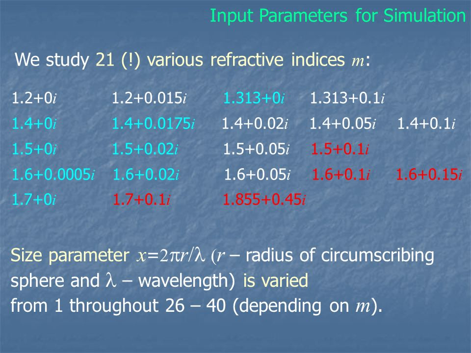 Input Parameters for Simulation
