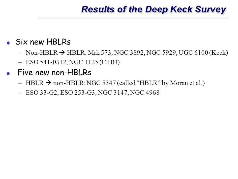 Results of the Deep Keck Survey