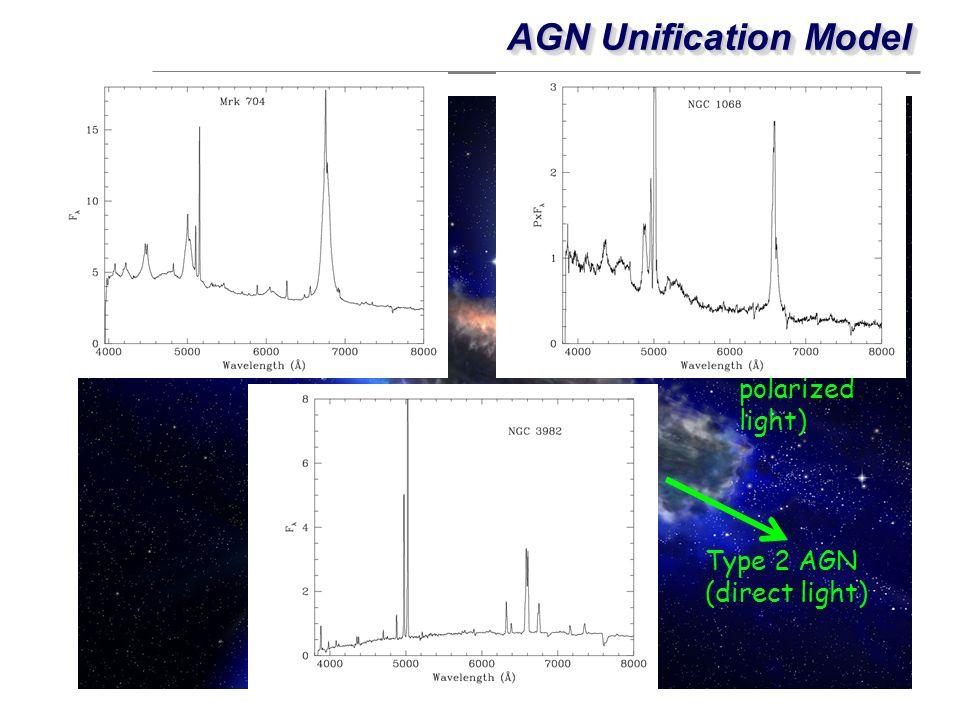 AGN Unification Model Type 1 AGN (direct light)
