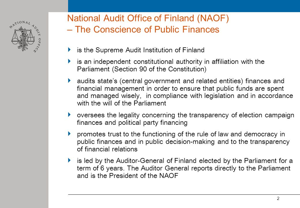 National Audit Office of Finland (NAOF) – The Conscience of Public Finances