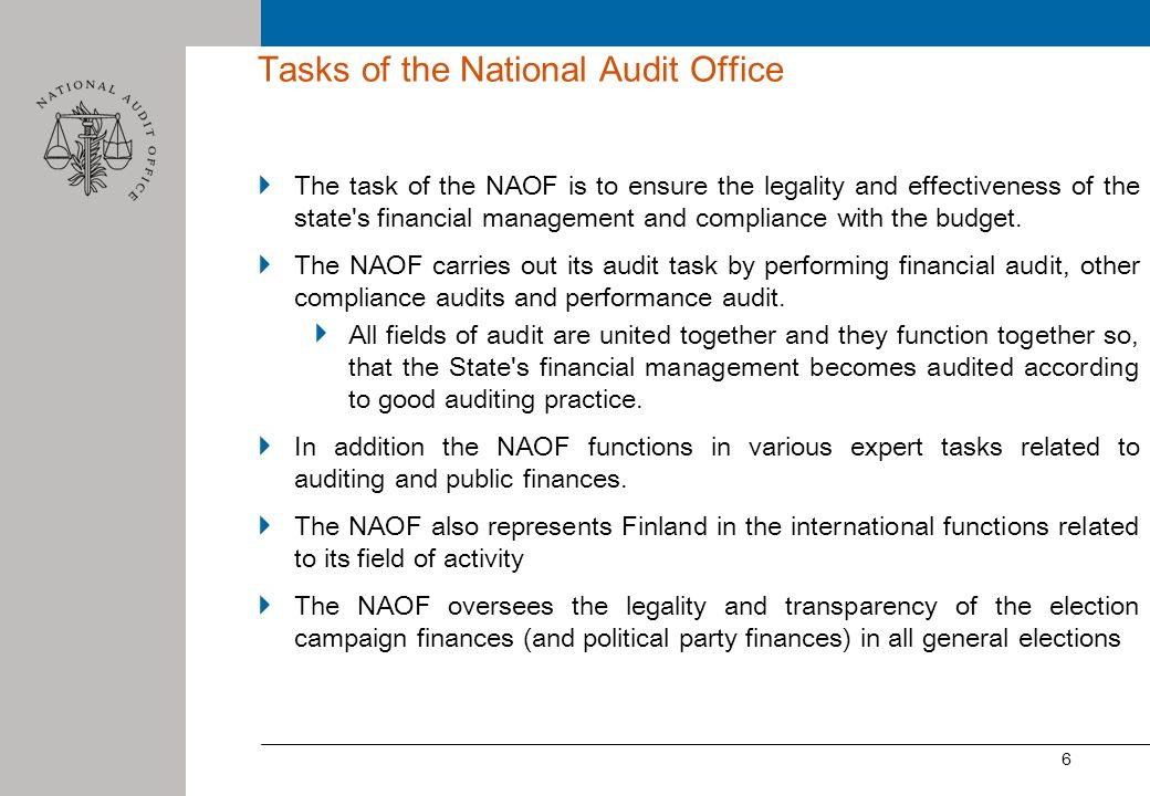 Tasks of the National Audit Office