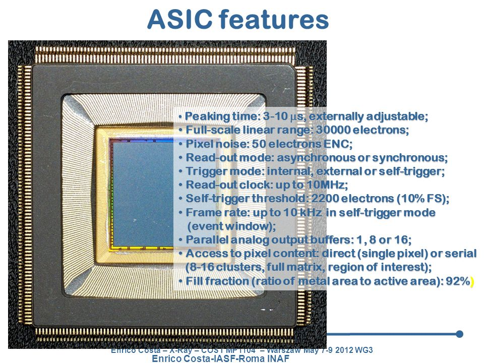 ASIC features Full-scale linear range: 30000 electrons;