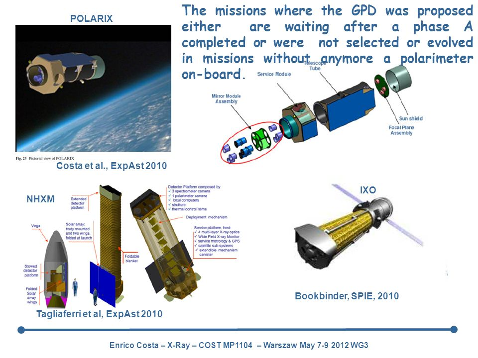 The missions where the GPD was proposed either are waiting after a phase A completed or were not selected or evolved in missions without anymore a polarimeter on-board.