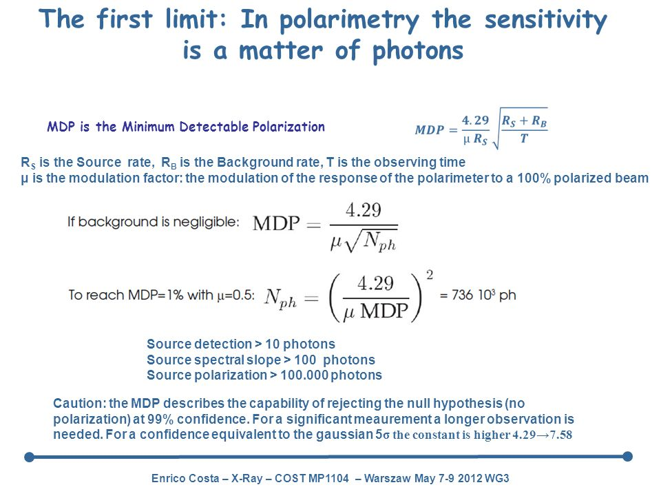 The first limit: In polarimetry the sensitivity is a matter of photons