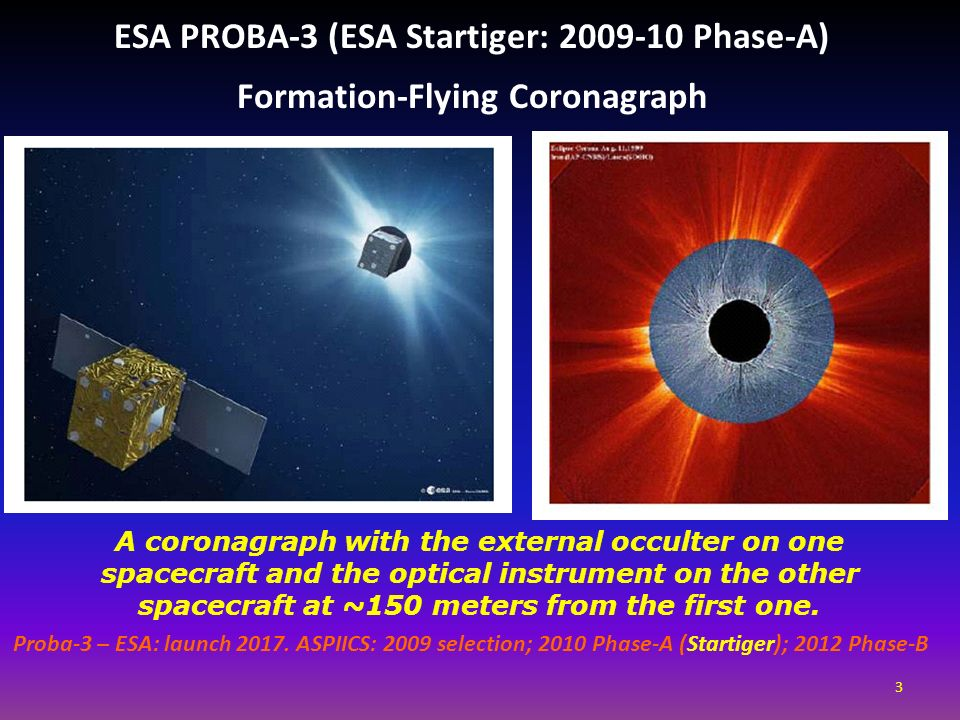 ESA PROBA-3 (ESA Startiger: 2009-10 Phase-A) Formation-Flying Coronagraph