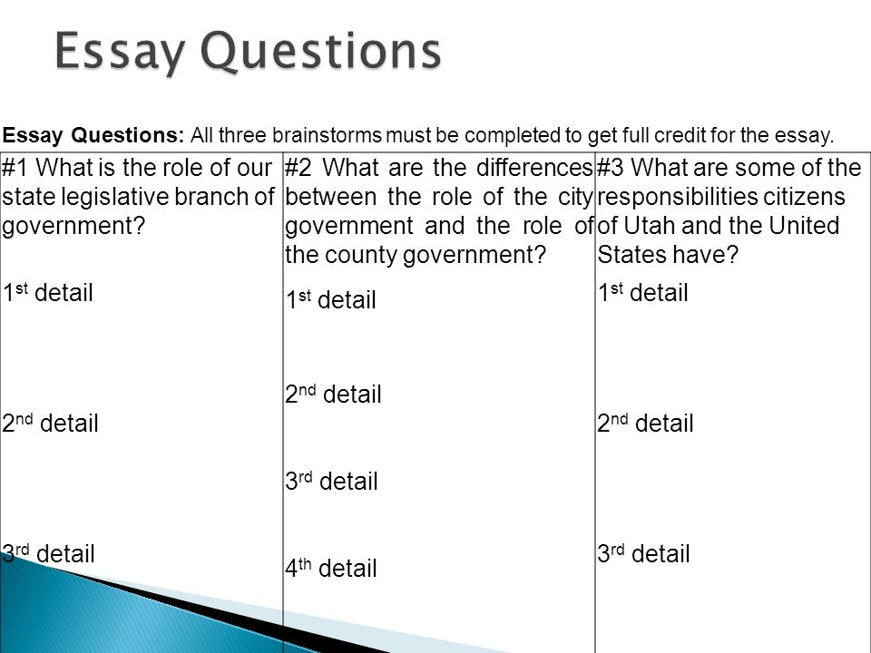 Essay questions about the legislative branch