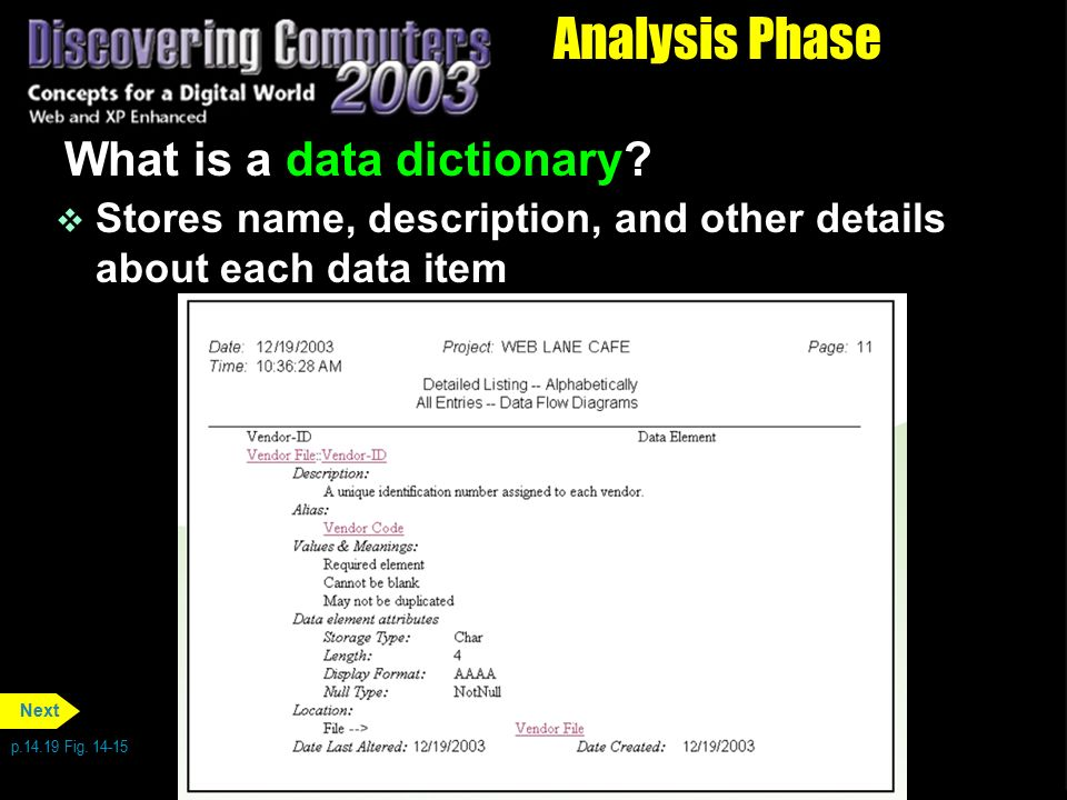 Analysis Phase What is a data dictionary
