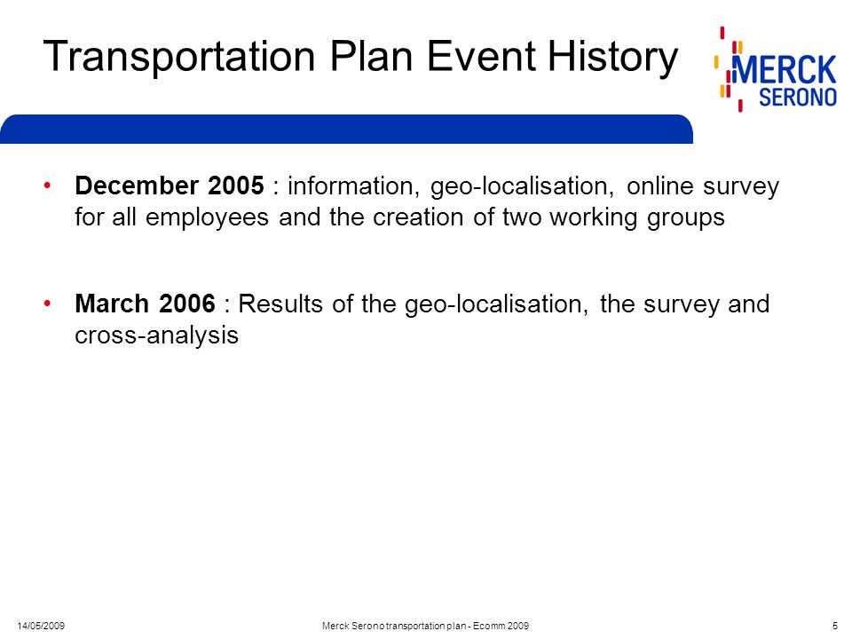 Transportation Plan Event History