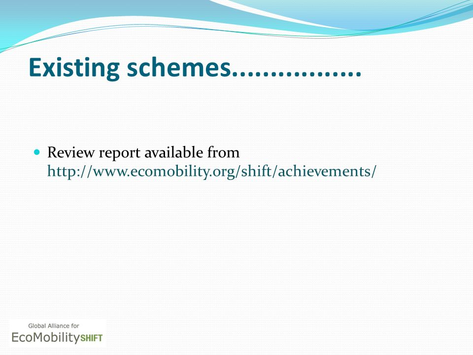 Existing schemes.................