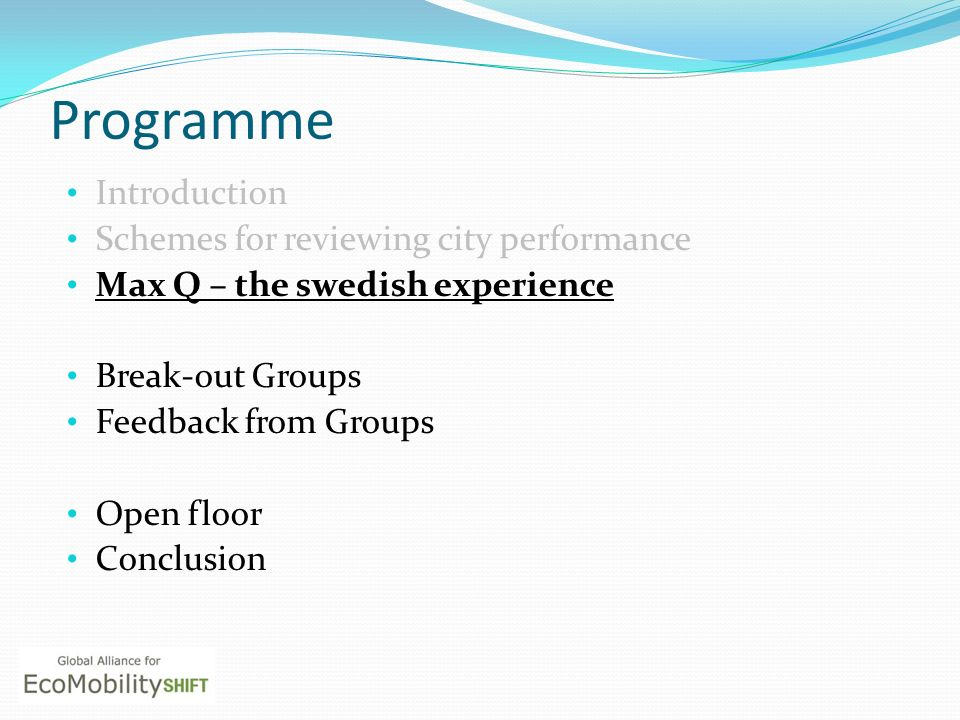 Programme Introduction Schemes for reviewing city performance