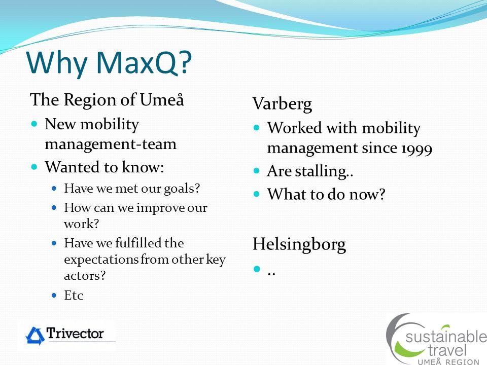 Why MaxQ The Region of Umeå Varberg Helsingborg ..