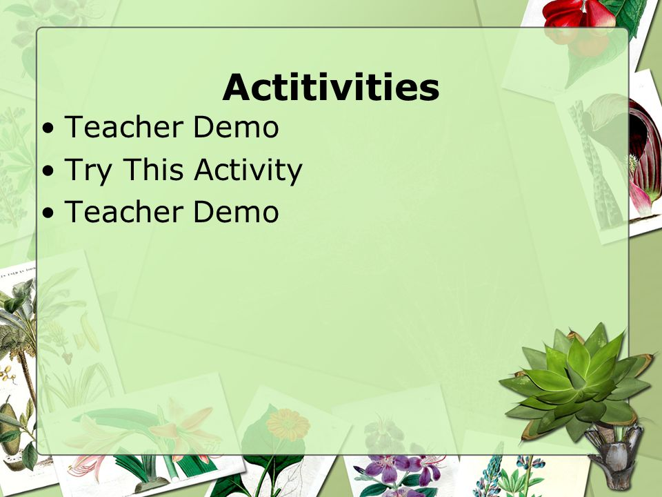 Actitivities Teacher Demo Try This Activity