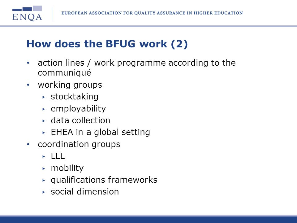 How does the BFUG work (2)