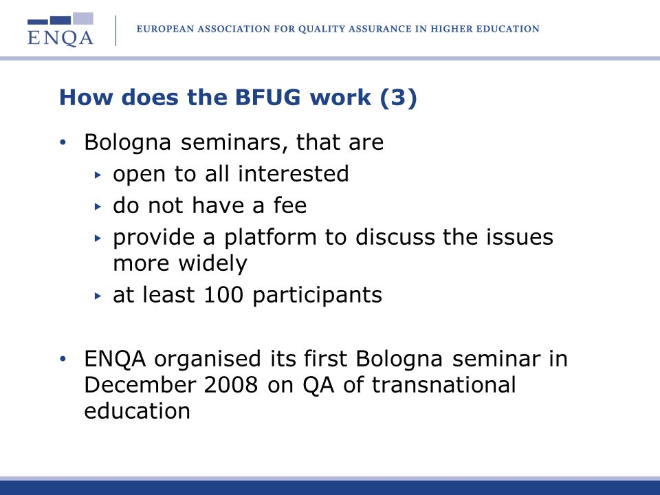 How does the BFUG work (3)