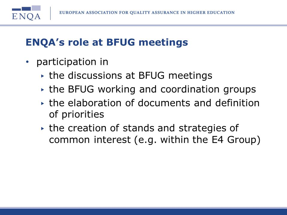 ENQA's role at BFUG meetings