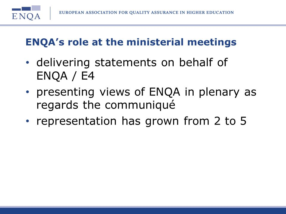 ENQA's role at the ministerial meetings