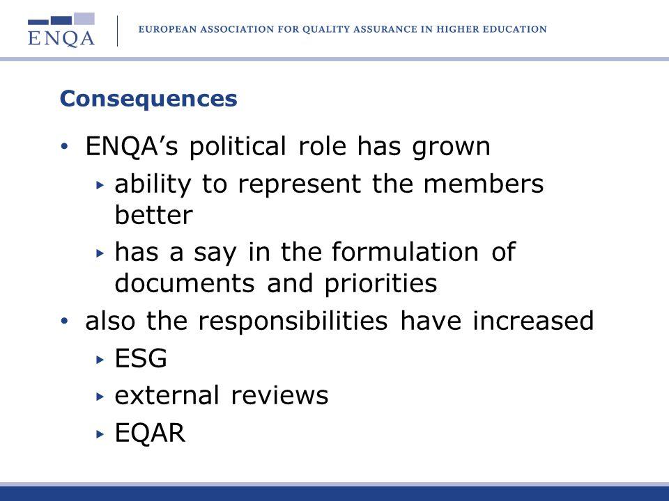 ENQA's political role has grown