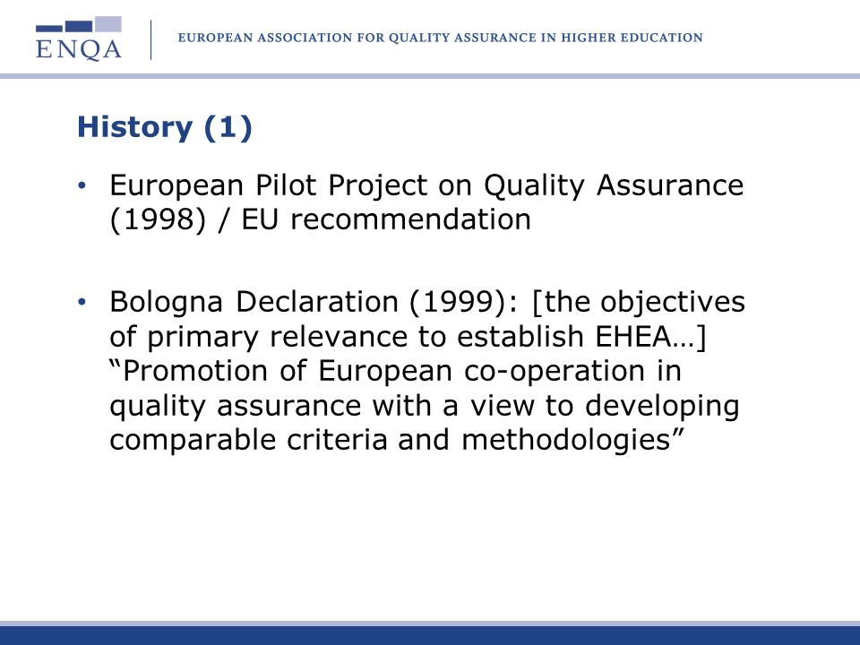 History (1) European Pilot Project on Quality Assurance (1998) / EU recommendation.