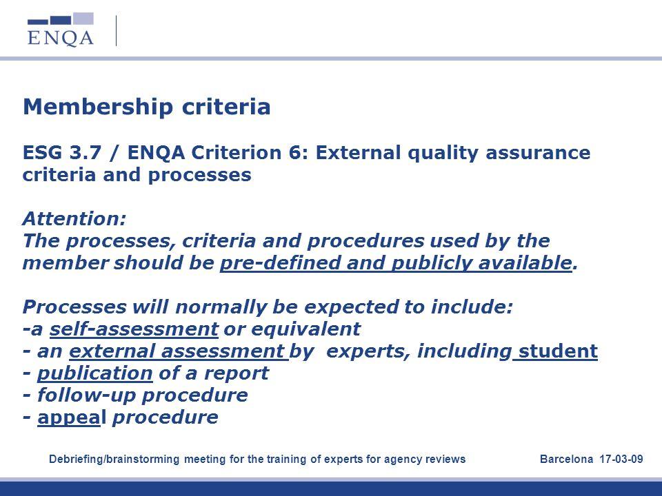 Membership criteria. ESG 3