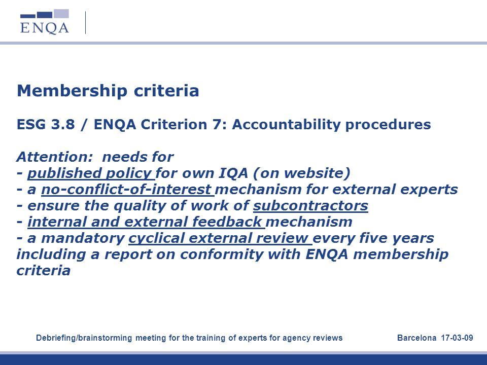 Membership criteria ESG 3