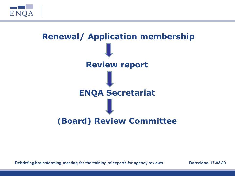 Renewal/ Application membership Review report ENQA Secretariat (Board) Review Committee