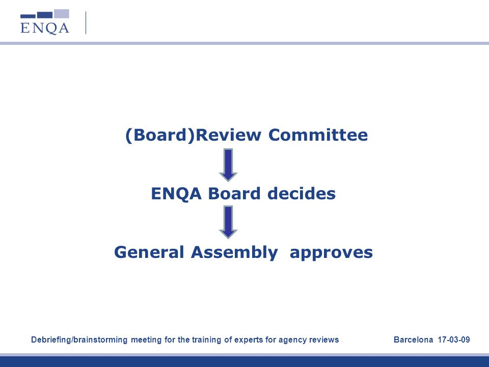 (Board)Review Committee ENQA Board decides General Assembly approves