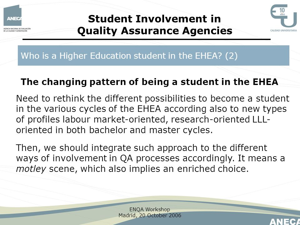 Student Involvement in Quality Assurance Agencies