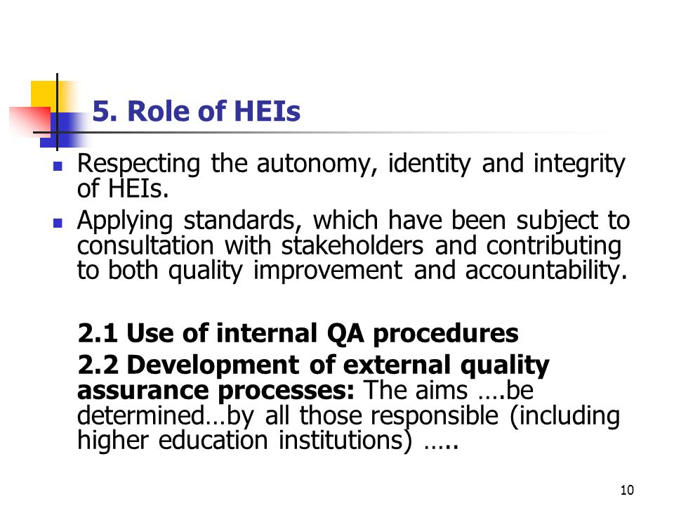 5. Role of HEIs Respecting the autonomy, identity and integrity of HEIs.