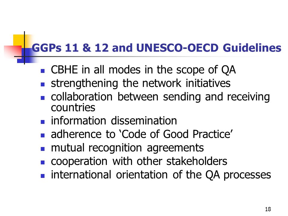 GGPs 11 & 12 and UNESCO-OECD Guidelines