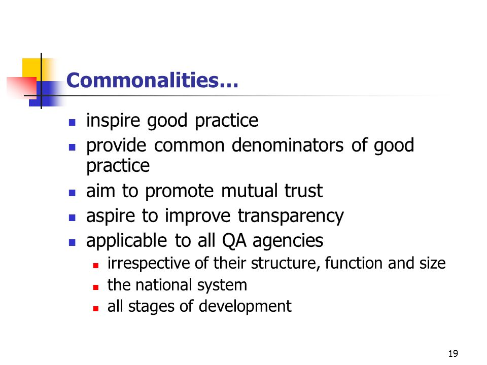 Commonalities… inspire good practice