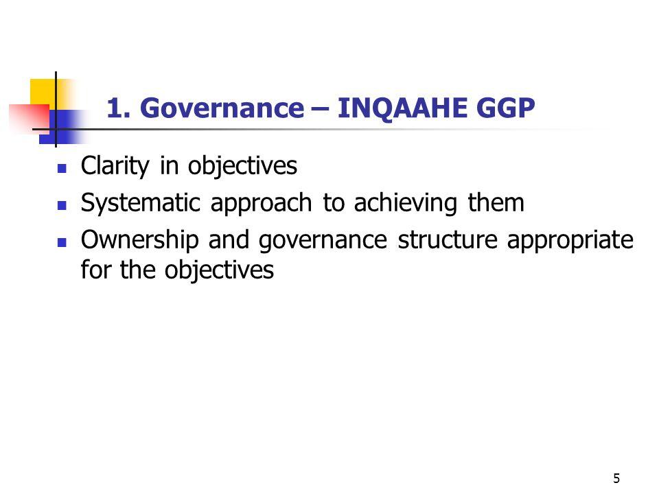 1. Governance – INQAAHE GGP