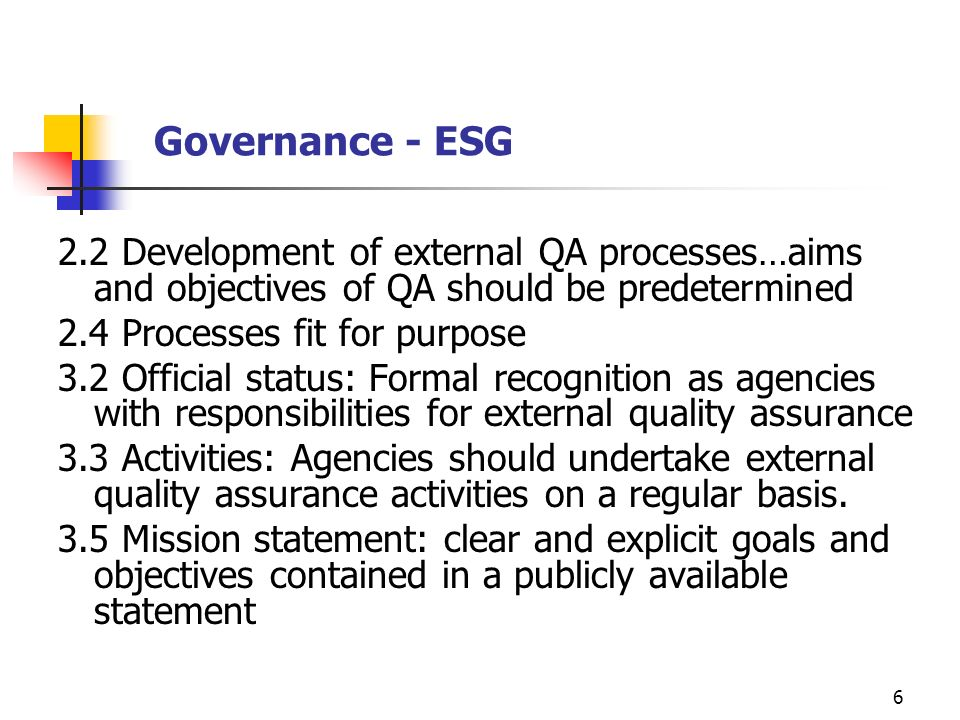 Governance - ESG 2.2 Development of external QA processes…aims and objectives of QA should be predetermined.