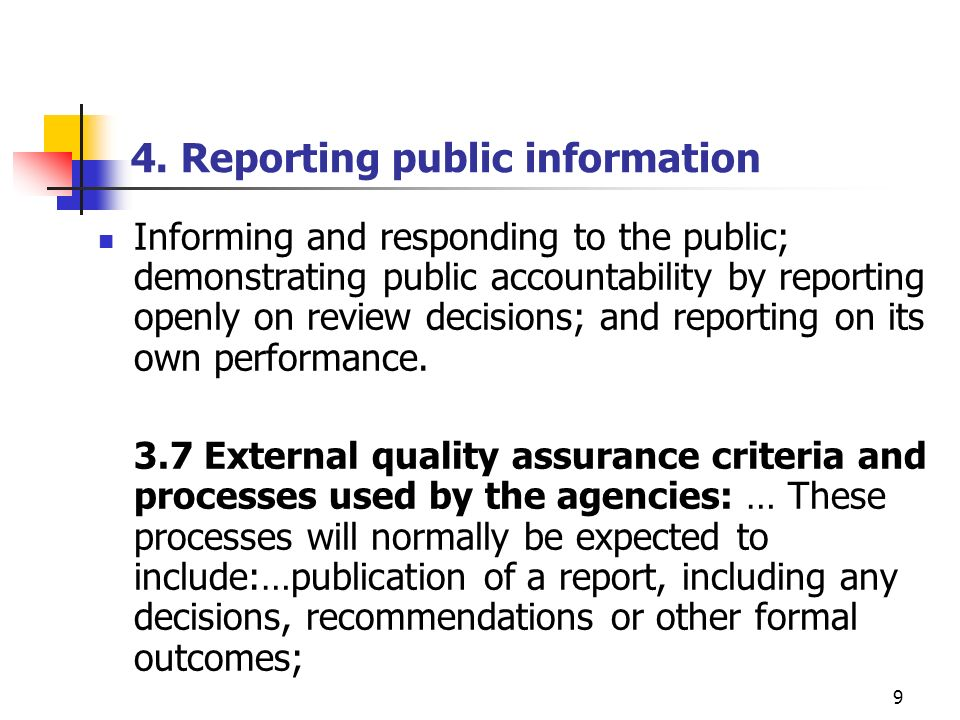 4. Reporting public information