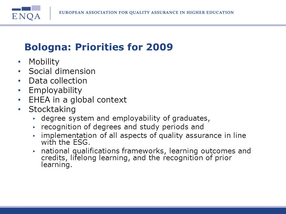 Bologna: Priorities for 2009