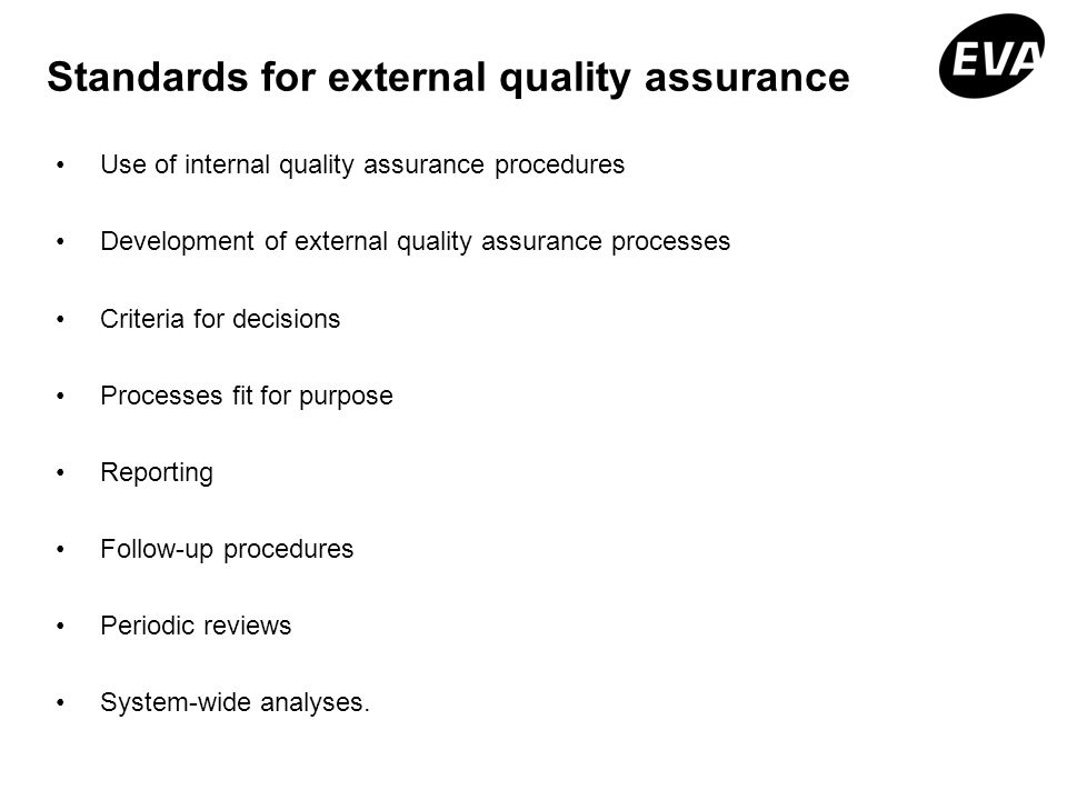 Standards for external quality assurance