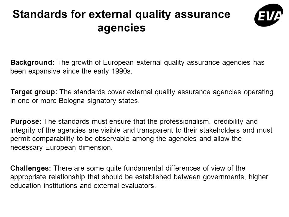Standards for external quality assurance agencies