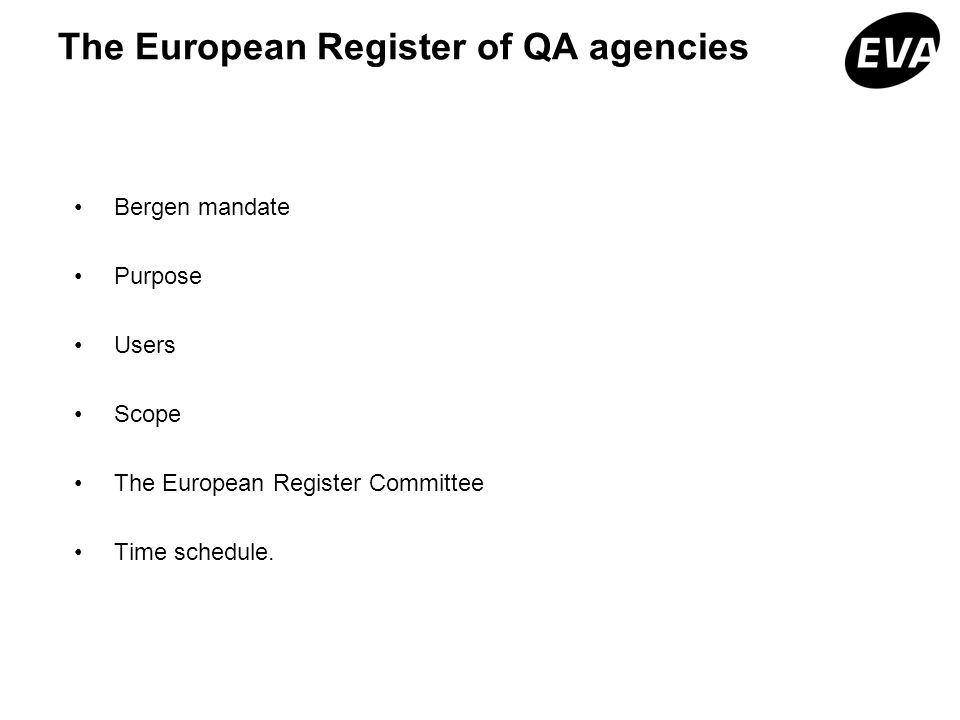 The European Register of QA agencies