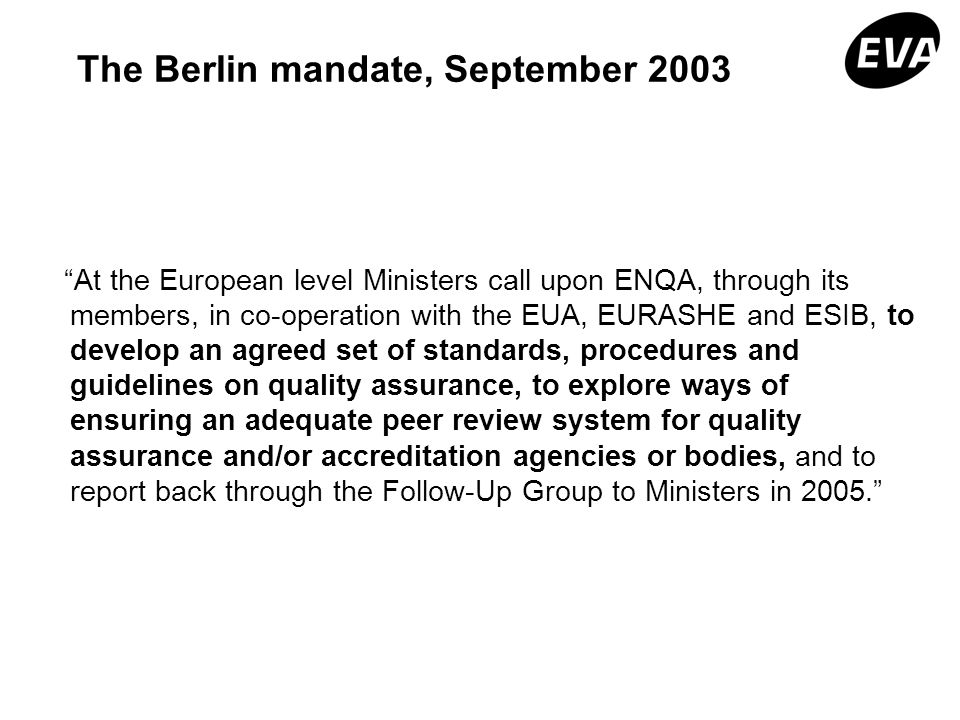 The Berlin mandate, September 2003