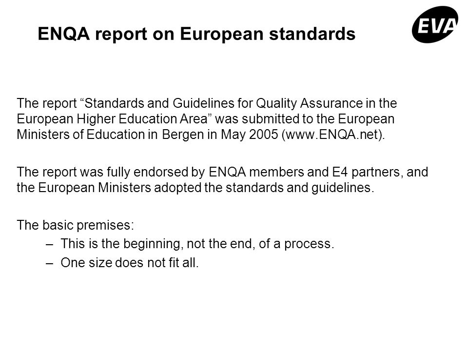 ENQA report on European standards