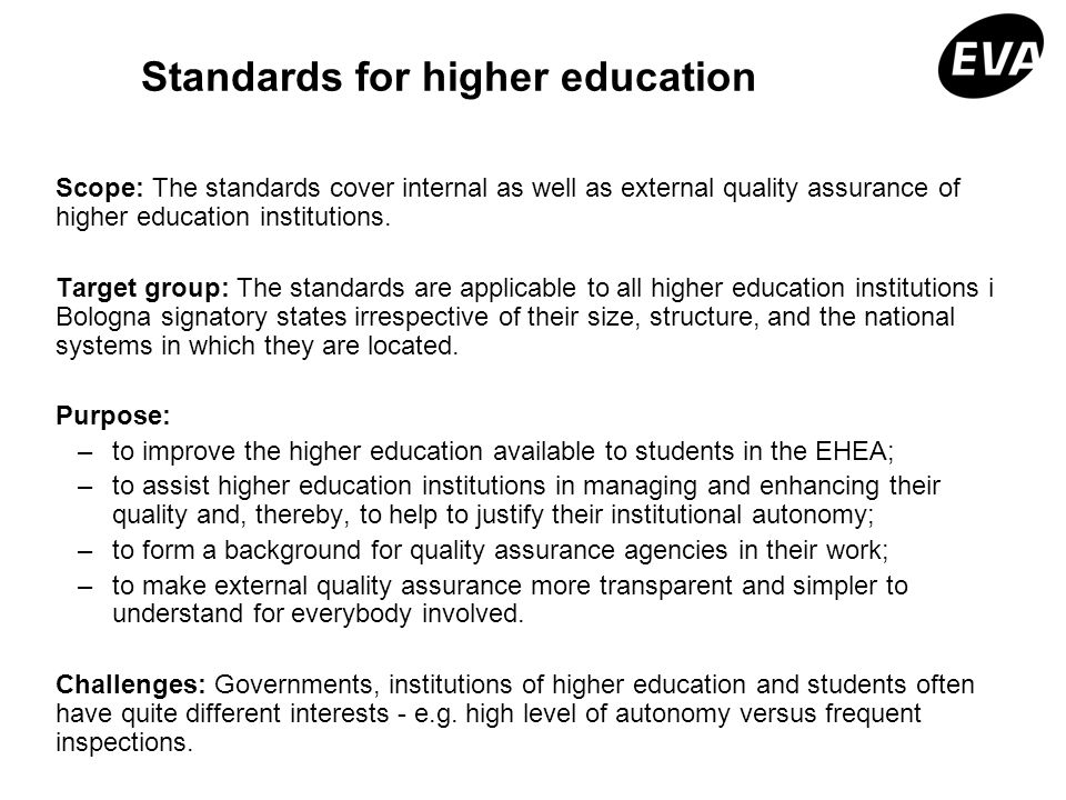 Standards for higher education